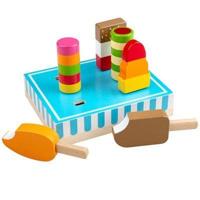 Leksaksmat - Glasspinnar i trä i trälåda - Bigjigs