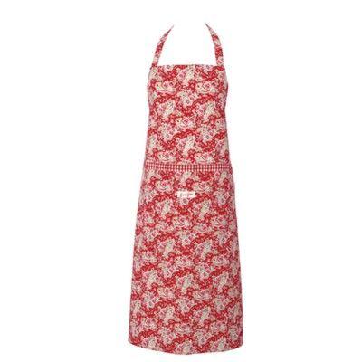 Förkläde - röd med paisleymönster