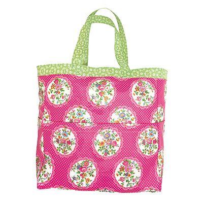 Strandväska - Wendy - rosa med blommönster