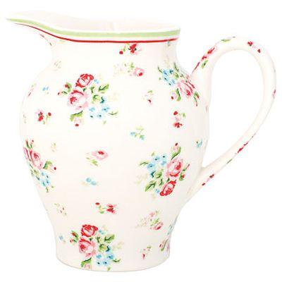 Mjölkkanna i porslin - Vit med blommor