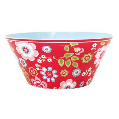 Skål i melamin - röd med blommor