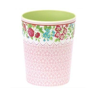 Mugg i melamin - Ivy, rosa med blommor - GreenGate