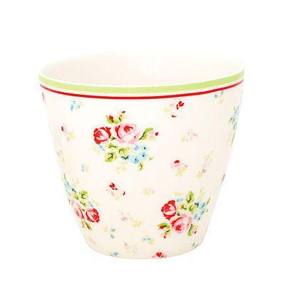 Lattemugg i porslin - Vit med blommor