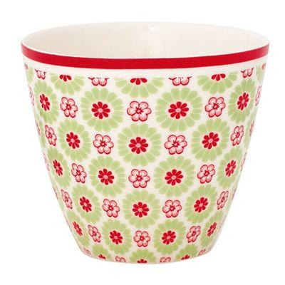 Kopp i porslin - grön med röda och vita blommor