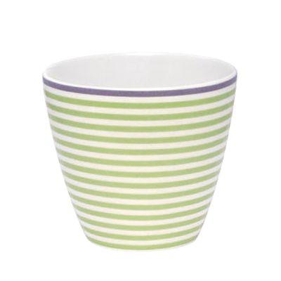 Lattemugg i porslin - grön & vitrandig m lila kant