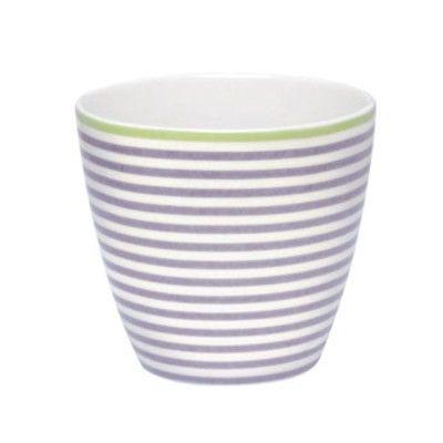 Lattemugg i porslin - lila & vitrandig m grön kant