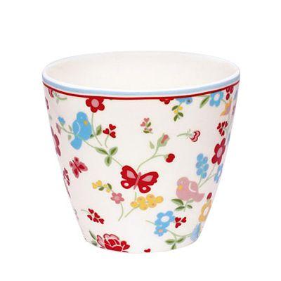 Lattemugg i porslin - blommor och fjärilar