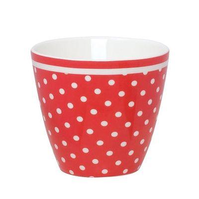 Lattemugg i porslin - spot röd  - GreenGate