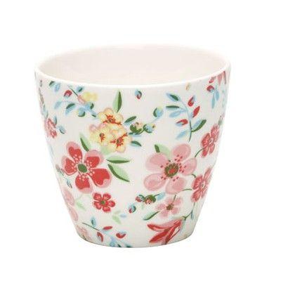 Lattemugg i porslin - Sophia - blommor