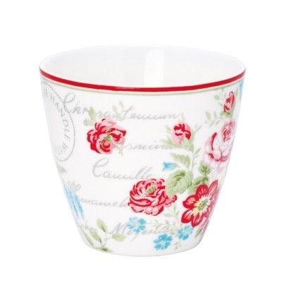 Lattemugg i porslin - Camille flower - vit