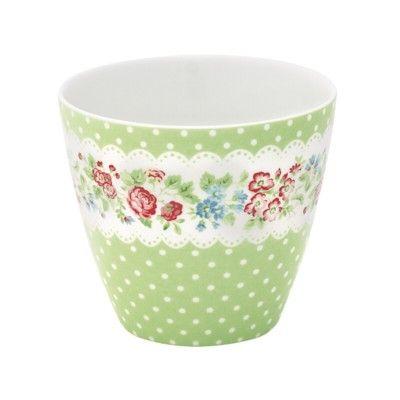 Lattemugg i porslin - Ivy - grön