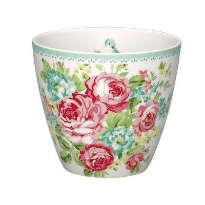 Lattemugg i porslin - June white
