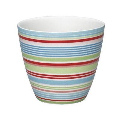 Lattemugg i porslin - Kamma stripe