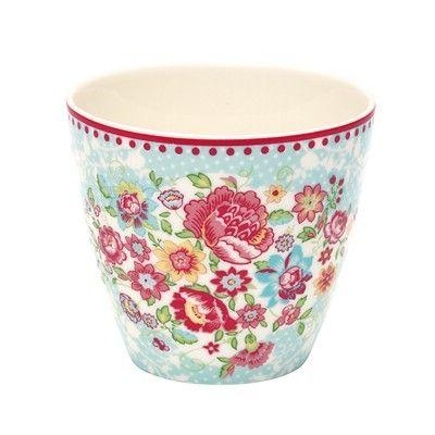 Lattemugg i porslin - Maggie - blå med blommor