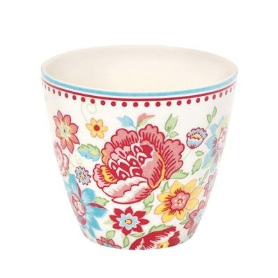 Lattemugg i porslin - Maggie - vit med blommor