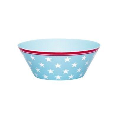 Skål i melamin - Lukas - ljusblå med vita stjärnor