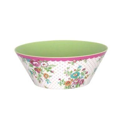 Skål i melamin - Wendy, rosa med blommönster