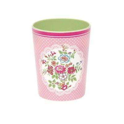 Mugg i melamin - Wendy, rosa med blommönster