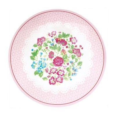Tallrik i melamin - Ivy, rosa med blommor - GreenGate
