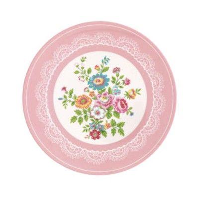 Tallrik i melamin - Wendy, rosa med blommönster