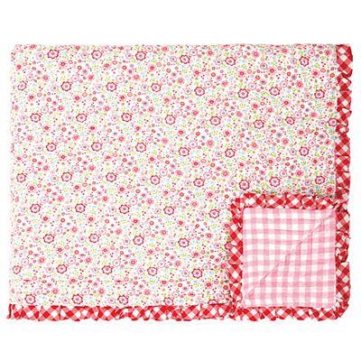 Täcke, quiltat - vitt med blommor