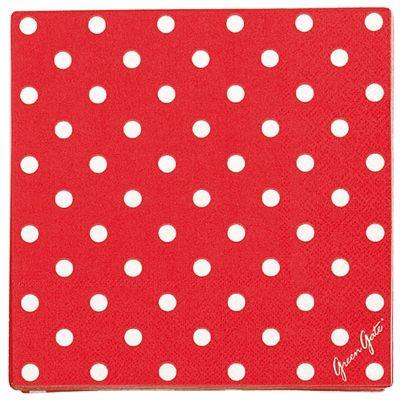 Pappersservetter - röda med vita prickar