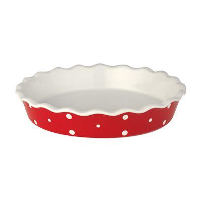 Pajform - röd med vita prickar