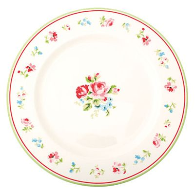 Assiett i porslin - Vit med blommor