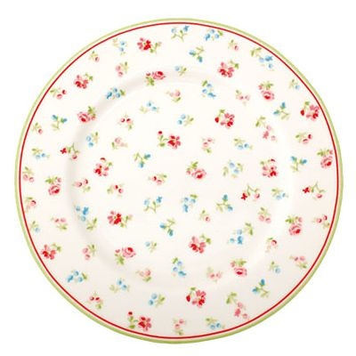 Assiett i porslin - Vit med små blommor