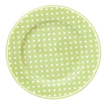 Assiett i porslin - spot grön - GreenGate