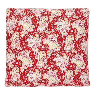 Quiltat kuddfodral - paisley, rött