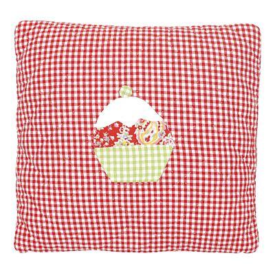 Quiltat kuddfodral - röd- och vitrutigt m cupcake