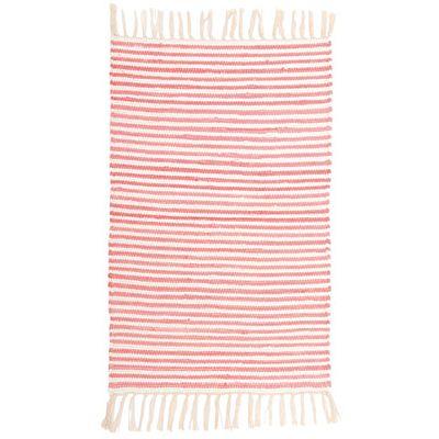 Trasmatta - rosa och vitrandig
