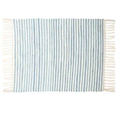 Trasmatta -blå och vitrandig