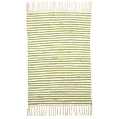 Trasmatta - grön och vitrandig