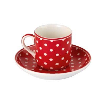 Espressokopp med fat i porslin - röd med vita prickar