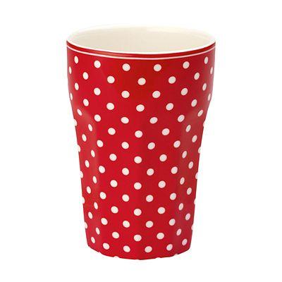 Fransk lattemugg - röd med vita prickar