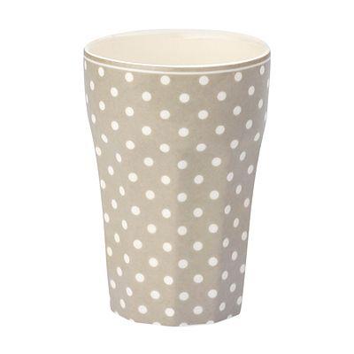 Fransk lattemugg - beige med vita prickar