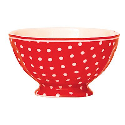 Skål i porslin - röd med vita prickar
