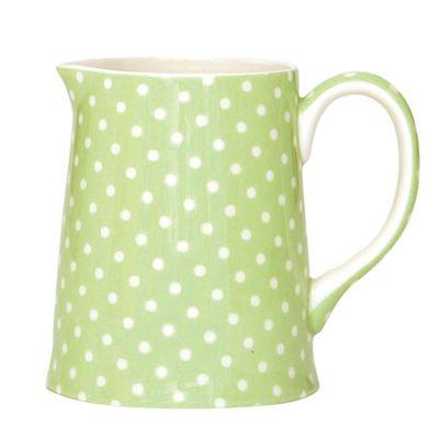 Mjölkkanna - grön med vita prickar