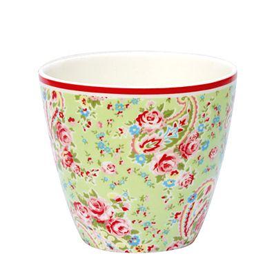 Lattemugg i porslin - Paisley, grön