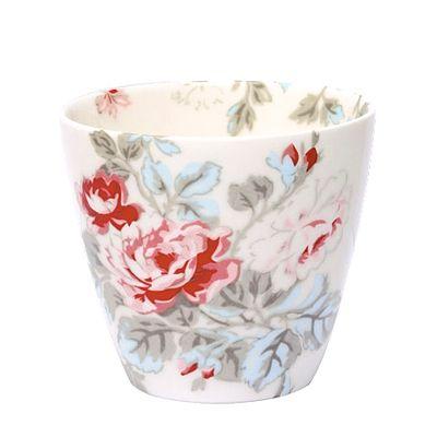 Lattemugg i porslin - Chloé - off white med rosor