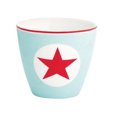 Lattemugg i porslin - Star pale blue - GreenGate