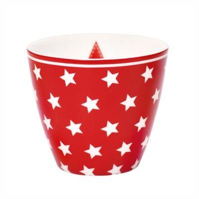 Lattemugg i porslin - Star red - GreenGate
