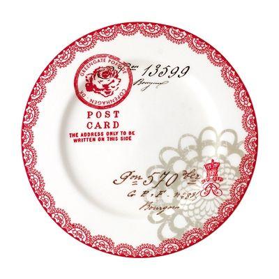 Assiett i porslin - Fay - röd