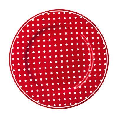 Assiett i porslin - spot röd - GreenGate