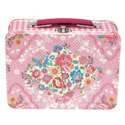Matlåda i metall - Maggie - rosa med blommor