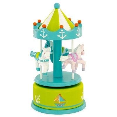 Speldosa med hästar - karusell - grön