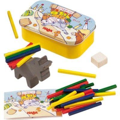 Balansspel med åsna i plåtask