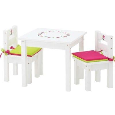 Möbelset - Bord och 2 stolar - vitt med handmålade blommor